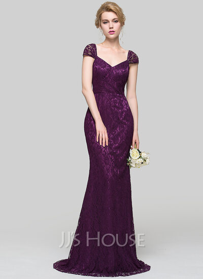 Trumpet Mermaid V Neck Sweep Train Lace Bridesmaid Dress
