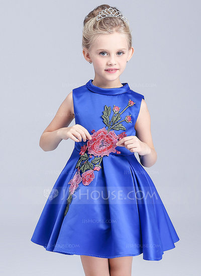 A-Line/Princess Short/Mini Flower Girl Dress - Polyester Sleeveless High Neck With Appliques/Bow(s)