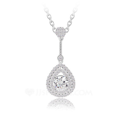 Classic Copper/Zircon/Platinum Plated Ladies' Necklaces