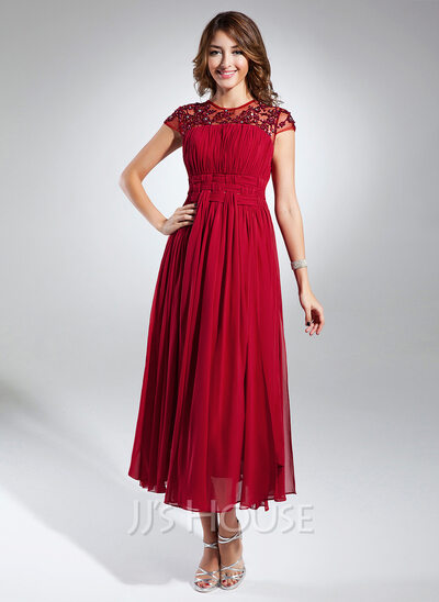 A-Line Scoop Neck Tea-Length Chiffon Homecoming Dress With Ruffle Beading Appliques Lace