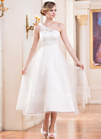 A Line Princess One Shoulder Tea Length Tulle Wedding