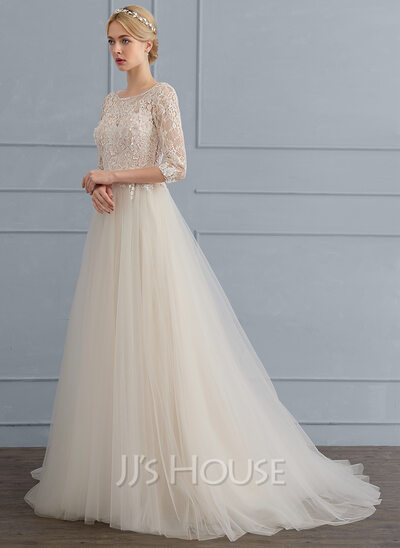 A-Line/Princess Scoop Neck Sweep Train Tulle Wedding Dress With ...