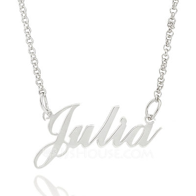 Christmas Gifts For Her - Custom Sterling Silver Signature Script Name Necklace