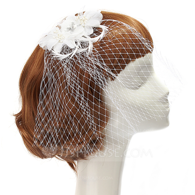 Charming Artificial Silk/Feather Fascinators With Rhinestone/Venetian Pearl
