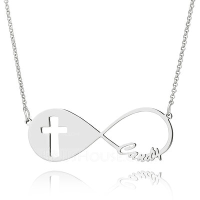 Christmas Gifts For Her - Custom Sterling Silver Religious Cross Infinity Necklace Infinity Name Necklace