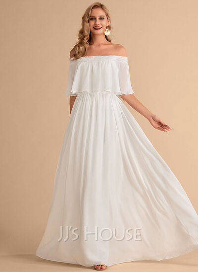 A-Line Off-the-Shoulder Floor-Length Chiffon Wedding Dress With Split Front