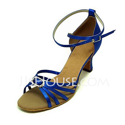 Women's Satin Heels Sandals Latin Ballroom With Rhinestone Dance Shoes