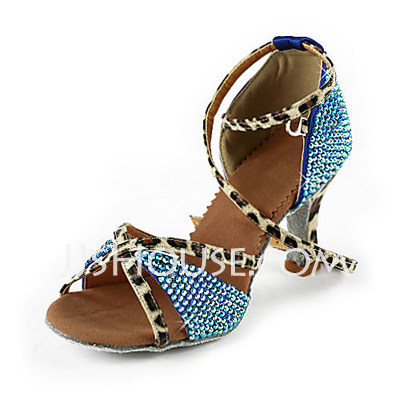 Women's Satin Heels Latin With Rhinestone Ankle Strap Dance Shoes