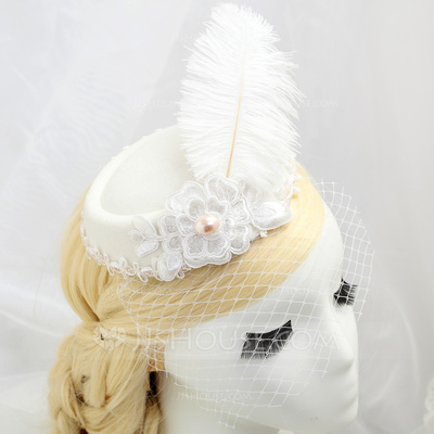 Gorgeous Artificial Silk/Feather/Lace Fascinators With Venetian Pearl