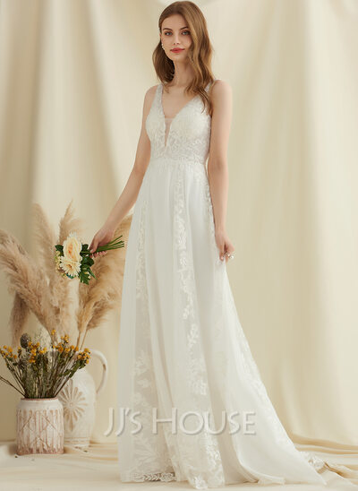 A-Line V-neck Sweep Train Chiffon Lace Wedding Dress With Sequins