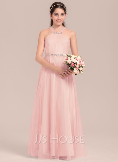 A-Line/Princess Square Neckline Floor-Length Tulle Junior Bridesmaid Dress With Ruffle Beading