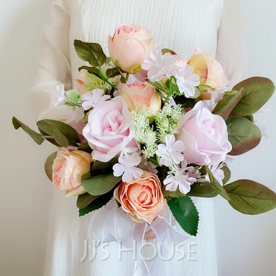 Classic Hand-tied Satin/Silk Flower Bridal Bouquets (Sold in a single piece) - Bridal Bouquets