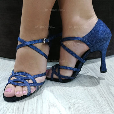 Women's Cloth Heels Latin With Hollow-out Dance Shoes