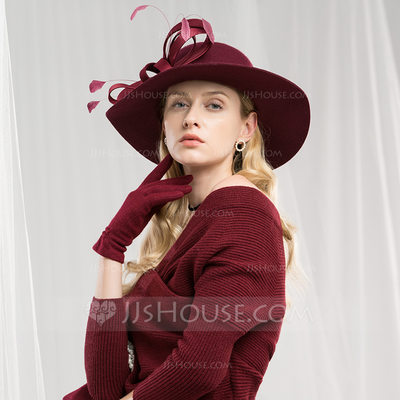 Ladies' Beautiful/Fashion/Elegant/Nice Wool With Feather Floppy Hats/Tea Party Hats