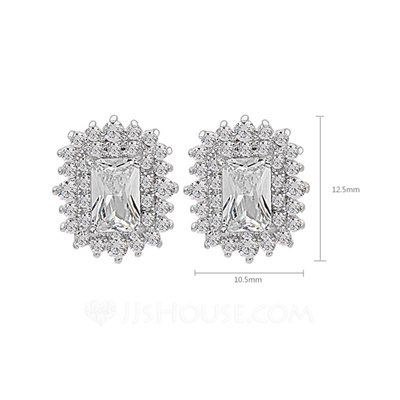Pretty Zircon/Platinum Plated Ladies' Earrings