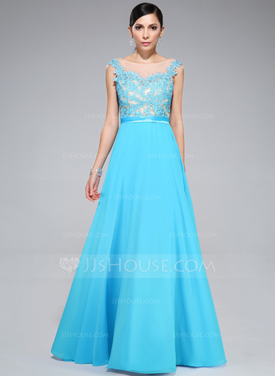 A-Line/Princess Scoop Neck Floor-Length Chiffon Prom Dress With Beading Appliques Lace