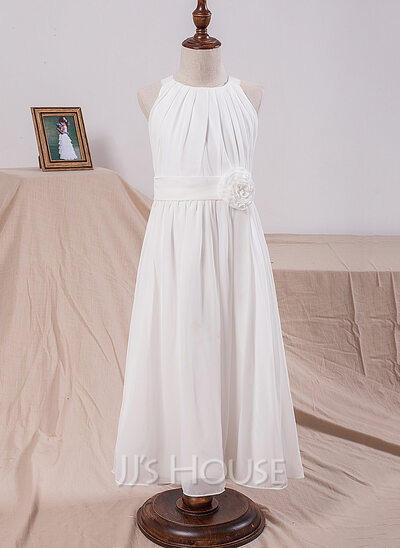 A-Line/Princess Scoop Neck Ankle-Length Chiffon Junior Bridesmaid Dress With Flower(s)