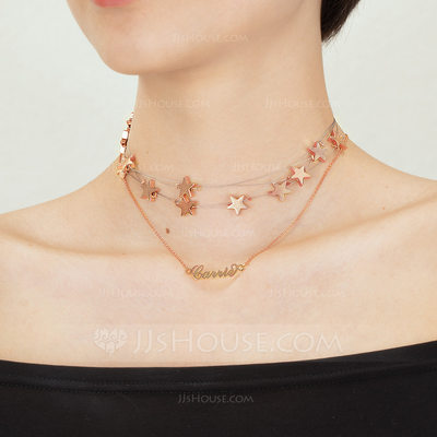 Christmas Gifts For Her - Custom 18k Rose Gold Plated Star Carrie Name Necklace With Star (Set of 2)