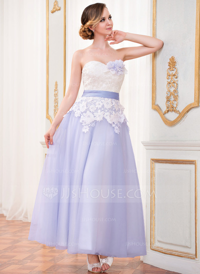 A-Line/Princess Sweetheart Ankle-Length Tulle Lace Wedding Dress With Sash Flower(s)