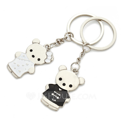 "Personalized ""Tang Suit Bear"" Stainless Steel Keychains (Set of 4 Pairs)"