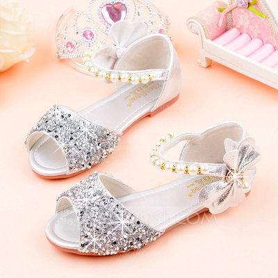 Girl's Peep Toe Leatherette Sparkling Glitter Low Heel Sandals Flats Flower Girl Shoes With Beading