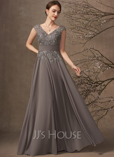 A-Line V-neck Floor-Length Chiffon Lace Mother of the Bride Dress With Ruffle Sequins