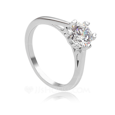 Elegant Copper/Platinum Plated With Cubic Zirconia Ladies' Rings