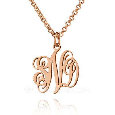 Christmas Gifts For Her - Custom 18k Rose Gold Plated Silver Letter Xs Monogram Necklace