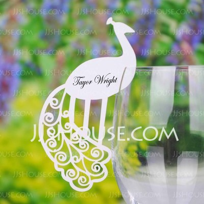 Peacock Design Pearl Paper Place Cards (set of 12)