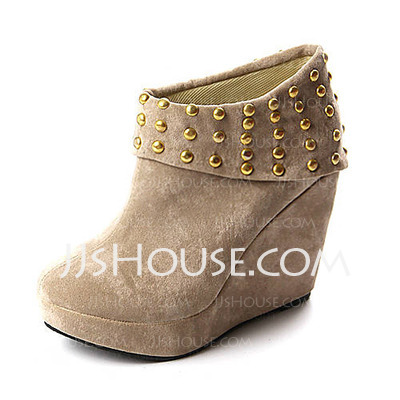 Suede Wedge Heel Closed Toe Platform Ankle Boots With Rivet