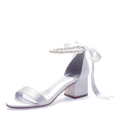 Women's Silk Like Satin Chunky Heel Peep Toe Sandals With Imitation Pearl Ribbon Tie