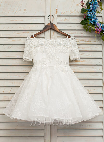 A-Line/Princess Knee-length Flower Girl Dress - Tulle/Lace Short Sleeves Bateau With Beading