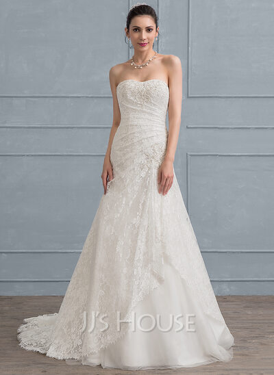 A-Line/Princess Sweetheart Sweep Train Tulle Lace Wedding Dress With ...