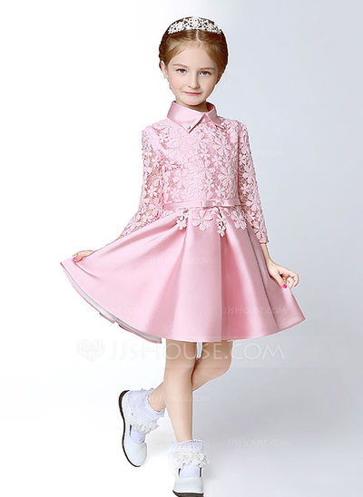 A-Line/Princess Knee-length Flower Girl Dress - Satin Long Sleeves Shirt collar With Appliques/Bow(s)