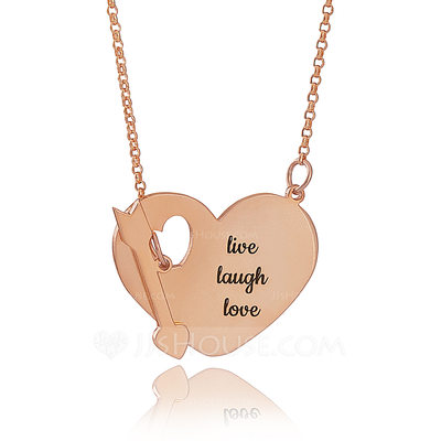 Christmas Gifts For Her - Custom 18k Rose Gold Plated Silver Engraving/Engraved Heart Necklace With Arrow