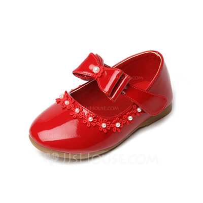 Girl's Leatherette Flat Heel Round Toe Closed Toe Mary Jane With Bowknot