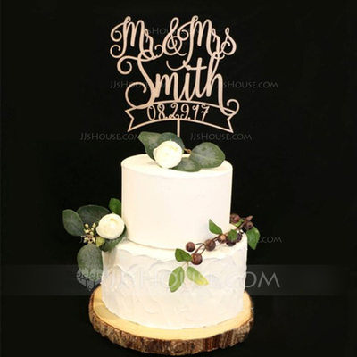 Mr & Mrs Akryl/Wood Kake Topper