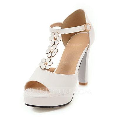 المرأة جلدي كعب مكتنز صنادل منصة تو زقزقة مع مشبك زهرة أحذية