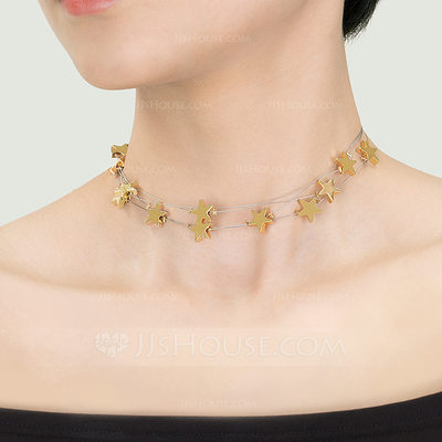 Christmas Gifts For Her - Silver 18k Gold Plated 18k Rose Gold Plated Star Choker Necklace