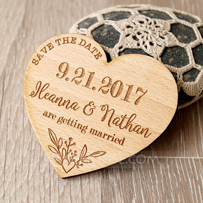 Personalized Heart-shaped Wooden Save-the-date Magnets (Set of 10)
