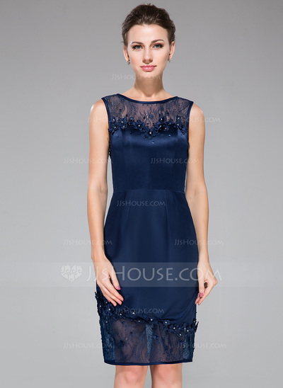Sheath/Column Scoop Neck Knee-Length Satin Lace Cocktail Dress With Beading Flower(s) Sequins