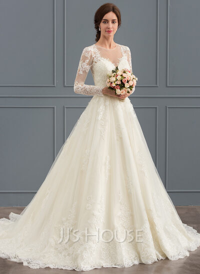 Ball-Gown Scoop Neck Court Train Tulle Lace Wedding Dress (002127273 ...
