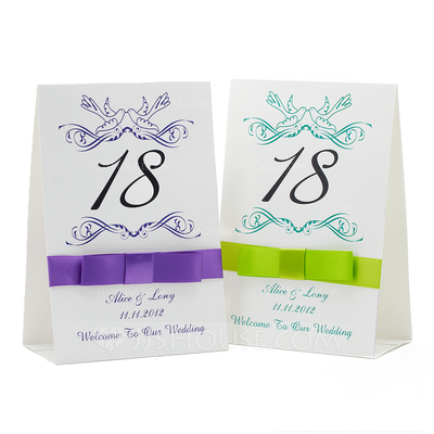 Personalized Floral Design Paper Table Number Cards With Ribbons (Set of 10)
