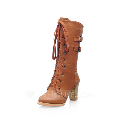 Women's Leatherette Chunky Heel Platform Closed Toe Mid-Calf Boots shoes