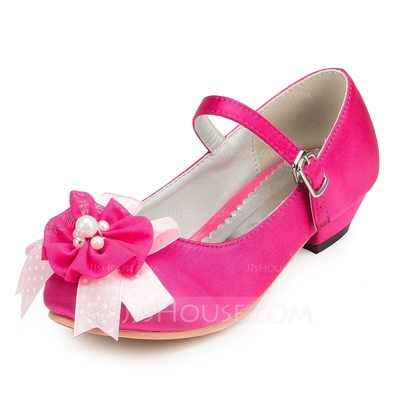 Girl's Satin Low Heel Closed Toe Pumps With Flower