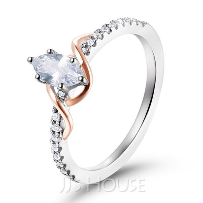 Twist Marquise Cut 925 Silver Engagement Rings