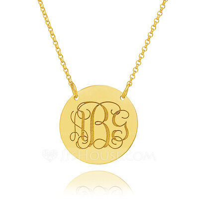 Christmas Gifts For Her - Custom 18k Gold Plated Silver Engraving/Engraved Circle Coin Three Monogram Necklace Circle Necklace