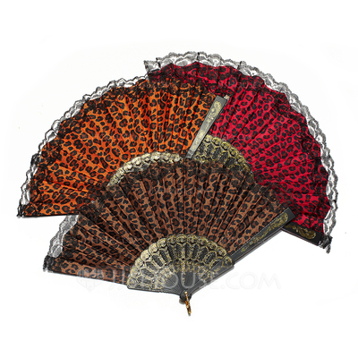 Leopard Design Plastic/Fabric Hand fan (Set of 4)