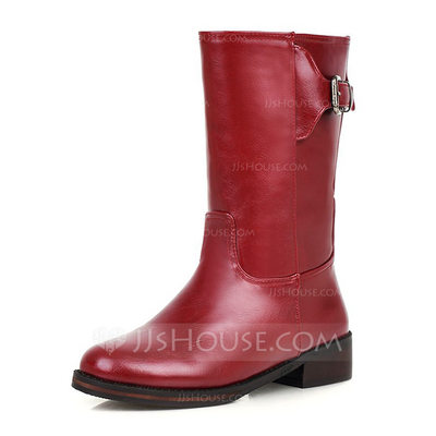 Women's Leatherette Flat Heel Flats Closed Toe Boots Mid-Calf Boots With Buckle shoes