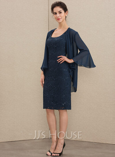 Sheath/Column Square Neckline Knee-Length Lace Mother of the Bride Dress With Sequins